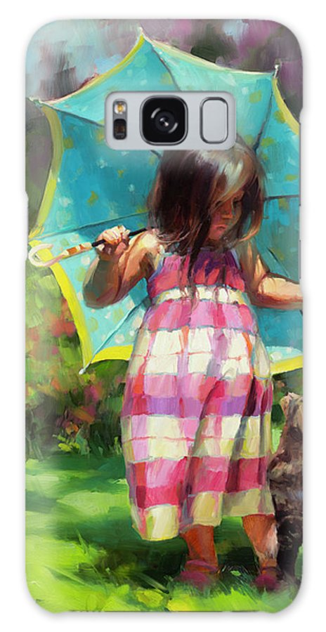 Child Galaxy S8 Case featuring the painting The Teal Umbrella by Steve Henderson