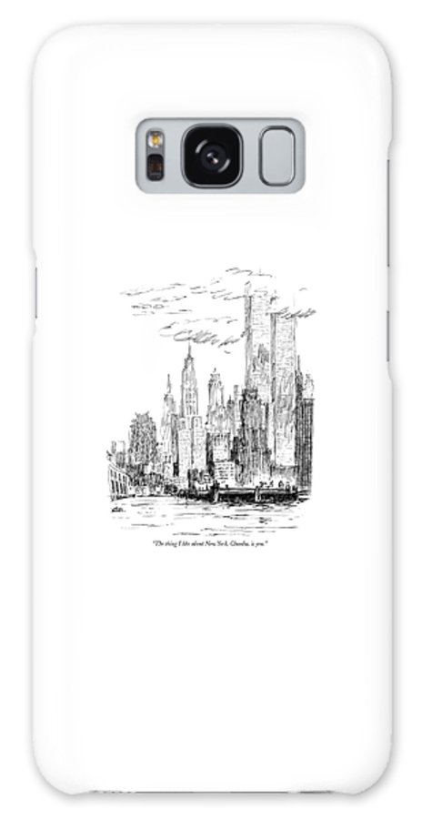Nyc Galaxy Case featuring the drawing The Thing I Like About New York by Robert Weber