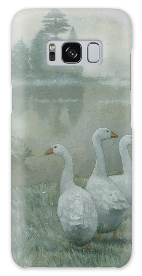 Country Galaxy S8 Case featuring the painting The Three Geese by Steve Mitchell