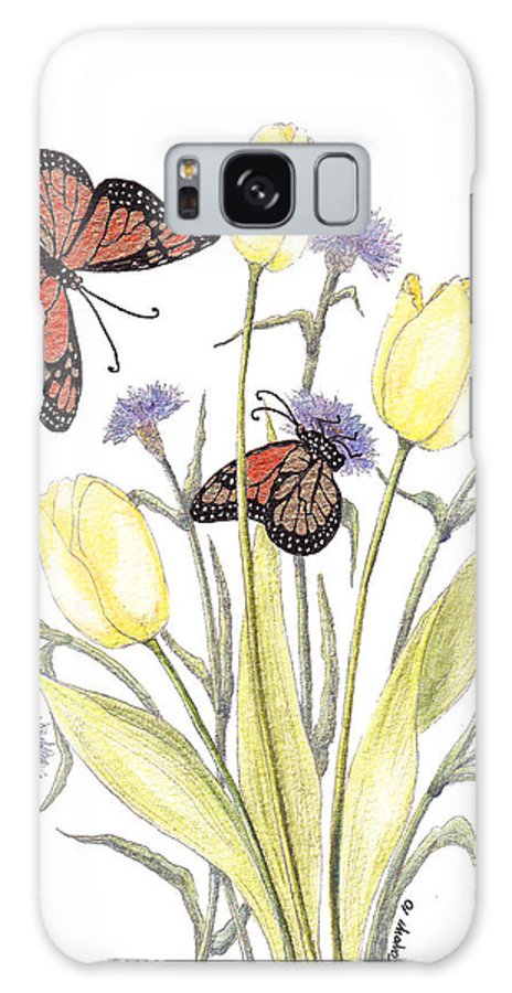 Tulips Galaxy S8 Case featuring the painting The Tulip And The Butterfly by Stanza Widen