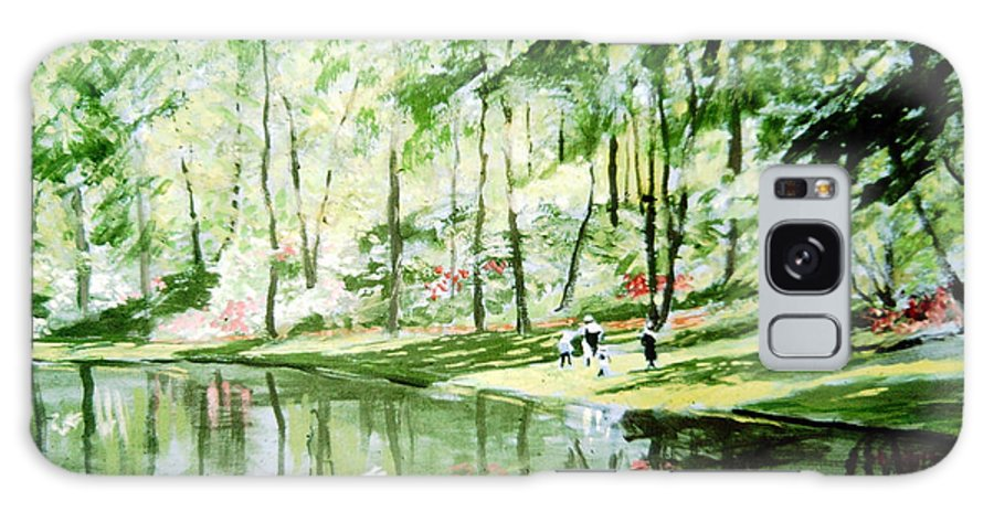 Brookside Garden Pond For Koi And Waterlilies Galaxy Case featuring the painting The Upper Pond by David Zimmerman