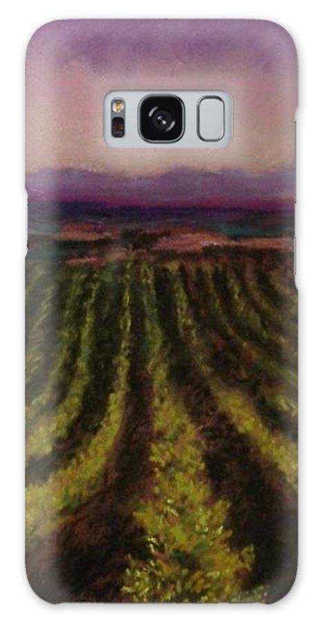 Landscape Galaxy S8 Case featuring the pastel The Vineyard by Pat Snook