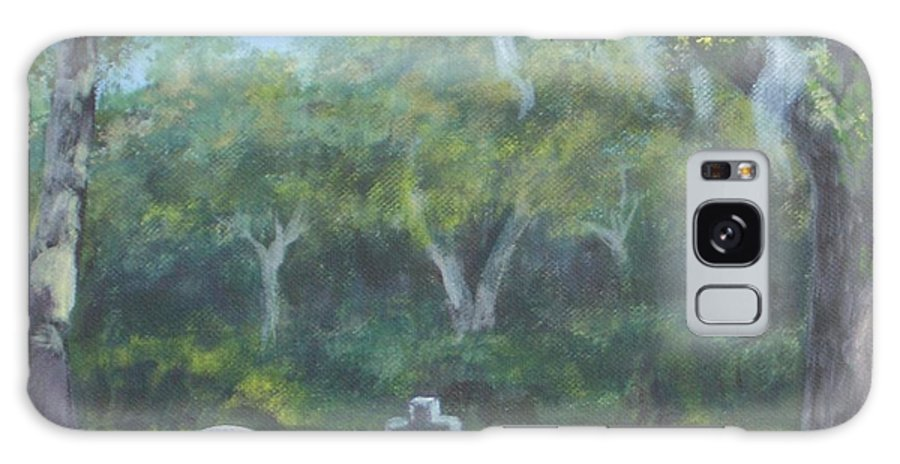 Landscape Cemetary Ghost Tree Florida Orlando Greenwood Galaxy Case featuring the painting The Visitor 75usd by Karen Bowden