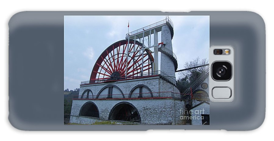 Isle Of Man Water Wheel Iconic Image Aka Lady Isabella White Stone Structure Spiral Staircase Arches Travel Tourism Adventure Impressive Architectural Arches Stone Structure Unique Building 1854 Victorian Era Canvas Print Suggested Poster Print Metal Frame Available On T Shirts Tote Bags Pouches Shower Curtains Weekender Tote Bags And Phone Cases Galaxy S8 Case featuring the photograph The Wheel Of Laxey, Isle Of Man by Marcus Dagan
