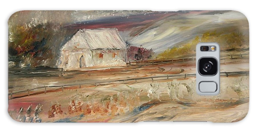 Landscape Galaxy S8 Case featuring the painting The White Barn by Edward Wolverton