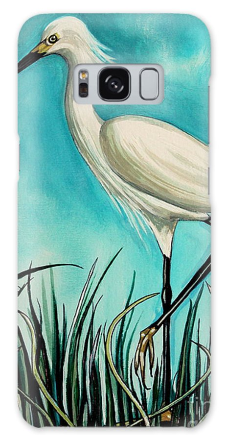 Bird Galaxy S8 Case featuring the painting The White Egret by Elizabeth Robinette Tyndall