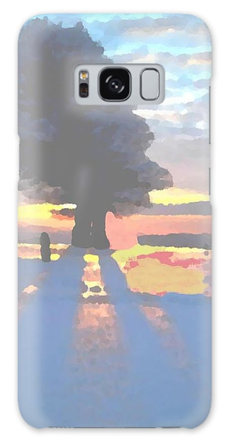 Sky.clouds.winter.sunset.snow.shadow.sunrays.evening Light.tree.far Forest. Galaxy S8 Case featuring the digital art The Winter Lonely Tree by Dr Loifer Vladimir