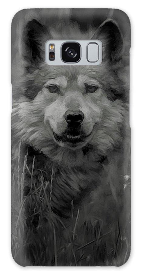 Wolf Galaxy Case featuring the digital art The Wolf Bw by Ernie Echols