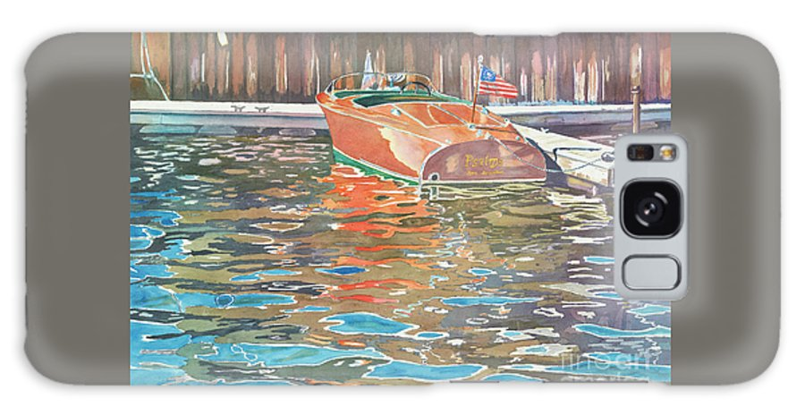 Boats Galaxy S8 Case featuring the painting The Wooden Boat by LeAnne Sowa
