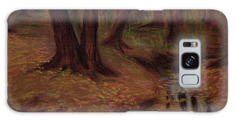 Woods Galaxy S8 Case featuring the pastel The Woods Are Deep And Dark by Asha Sudhaker Shenoy