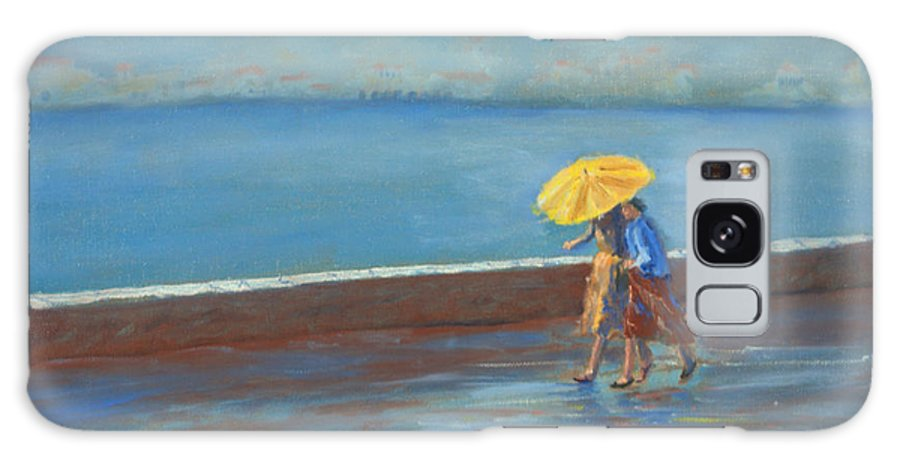 Rain Galaxy S8 Case featuring the painting The Yellow Umbrella by Jerry McElroy