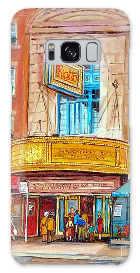 Montreal Galaxy S8 Case featuring the painting Theatre Rialto Ave. Du Parc Montreal by Carole Spandau