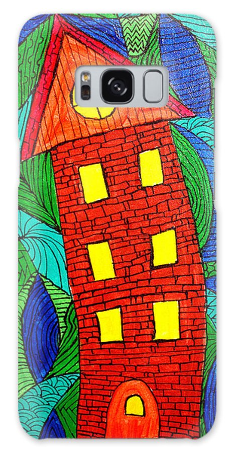 Geometric Patterns Galaxy S8 Case featuring the painting There Was A Crooked House by Wayne Potrafka