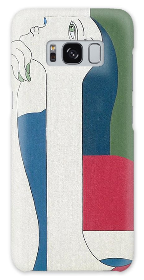 Modern Special Women Bleu Red Green Galaxy Case featuring the painting Thinking by Hildegarde Handsaeme