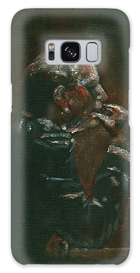 Man Galaxy Case featuring the painting Thinking It Over by Arline Wagner