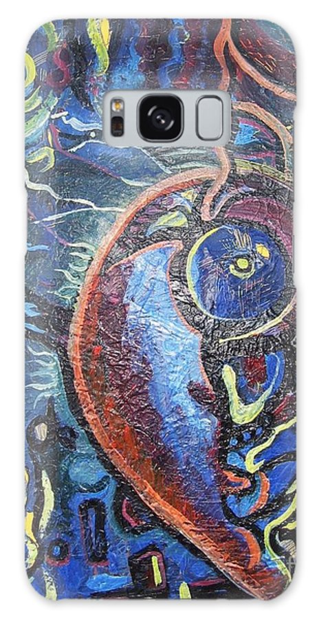 Abstract Contemporary Home Blue Oil Canvas Board Galaxy S8 Case featuring the painting Thinking Of Home by Seon-Jeong Kim