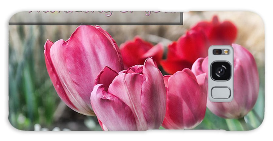 Tulips Galaxy S8 Case featuring the digital art Thinking Of You Greeting Card by Kenneth Krolikowski