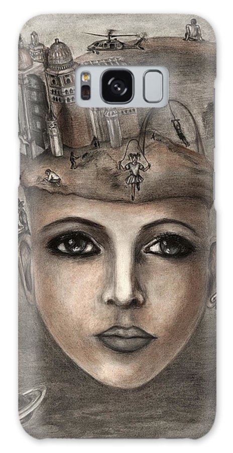 Girl Galaxy S8 Case featuring the painting Thoughts Fantasy by Alla Kolerskaya