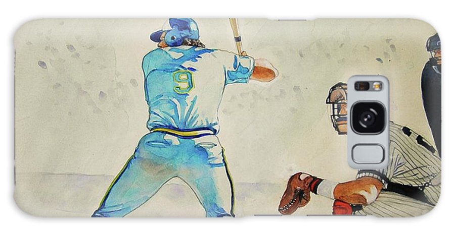 Baseball Paintings Galaxy S8 Case featuring the painting Three And Two by Nigel Wynter