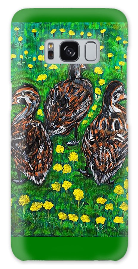 Bird Galaxy Case featuring the painting Three Ducklings by Valerie Ornstein