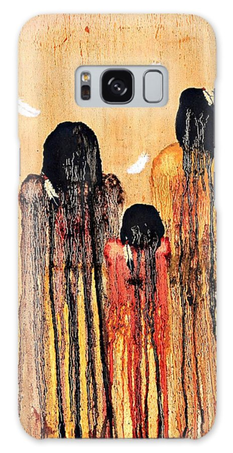 Art Galaxy S8 Case featuring the painting Three Feathers by Patrick Trotter