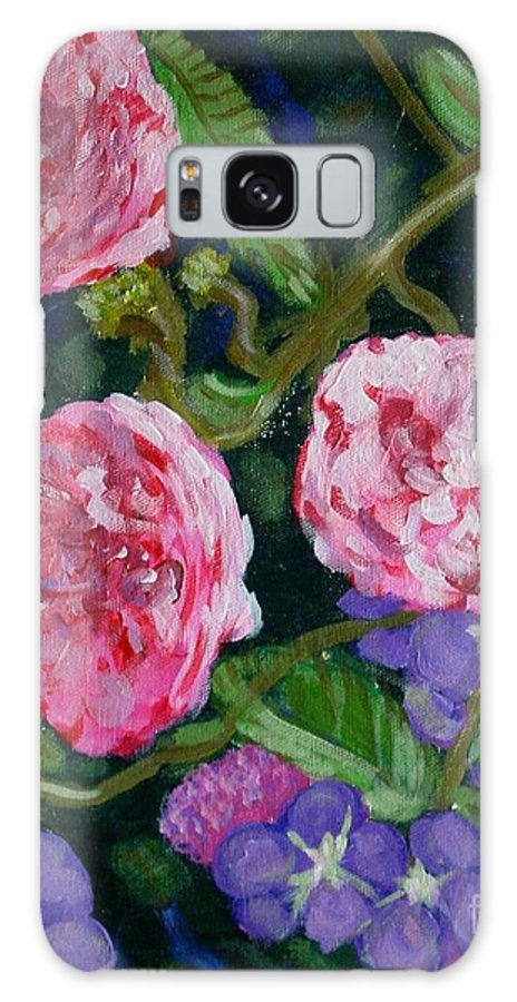 Roses Galaxy S8 Case featuring the painting Three For The Show by Laurie Morgan
