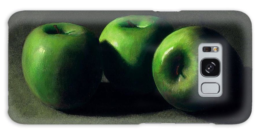 Still Life Galaxy S8 Case featuring the painting Three Green Apples by Frank Wilson