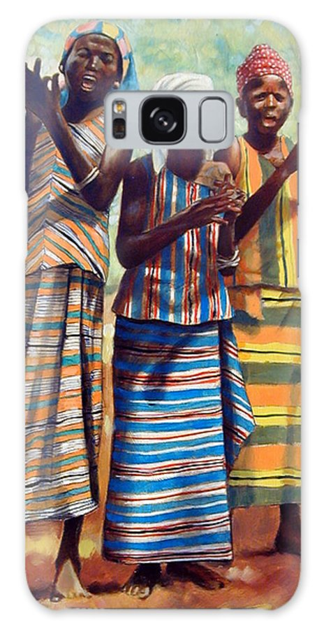 3 African Girls Galaxy Case featuring the painting Three Joyful Girls by John Lautermilch