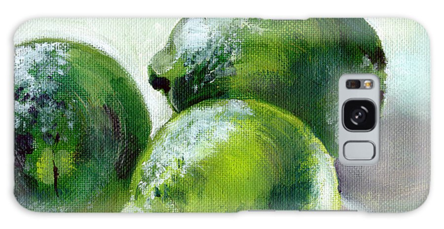 Food Galaxy S8 Case featuring the painting Three Limes by Sarah Lynch