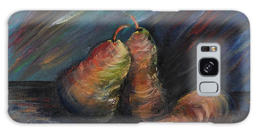 Pears Fruit Stilllife Blue Red Gold Orange Galaxy S8 Case featuring the painting Three Pears by Nadine Rippelmeyer