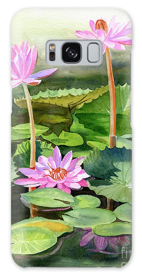 Pink Galaxy S8 Case featuring the painting Three Pink Water Lilies With Pads by Sharon Freeman