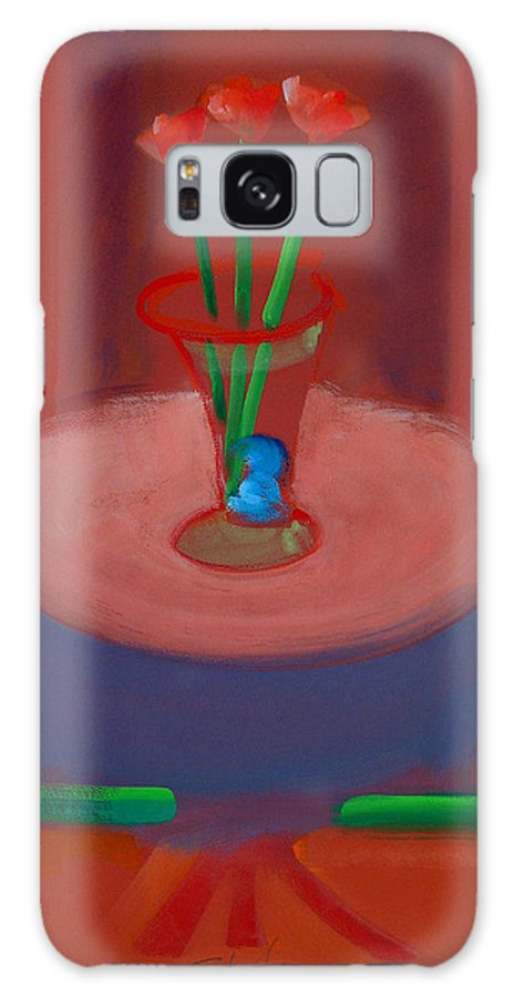 Poppies Galaxy S8 Case featuring the painting Three Poppies In A Vase by Charles Stuart