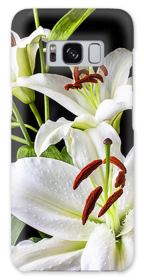 White Tiger Lily Galaxy S8 Case featuring the photograph Three White Lilies by Garry Gay