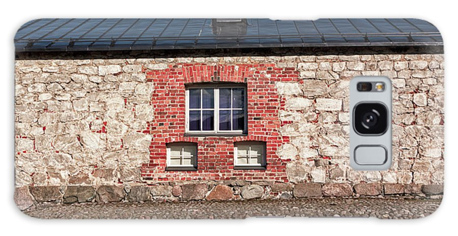 Copy Space Galaxy S8 Case featuring the photograph Three Windows On A Brick Wall by Jukka Heinovirta
