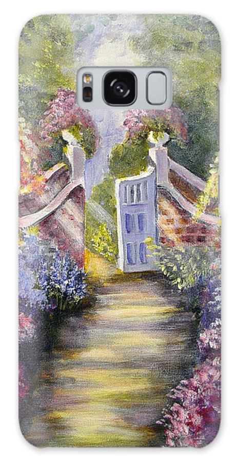 Flowers Galaxy S8 Case featuring the painting Through The Garden Gate by Quwatha Valentine
