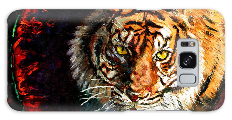Tiger Galaxy S8 Case featuring the painting Through The Ring Of Fire by John Lautermilch