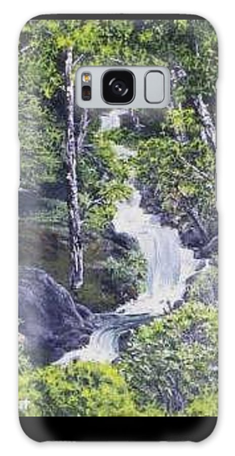 This Is A Lovely Waterfall We Saw On The Way Back Home From Mount Hood Oregon. Galaxy Case featuring the painting Through The Woods by Darla Boljat