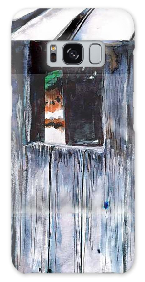 An Old Mysterious Barn With Deep Dark Shadows And Secrets. Rustic And Moody. Galaxy S8 Case featuring the drawing Thru the Barn Window by Seth Weaver