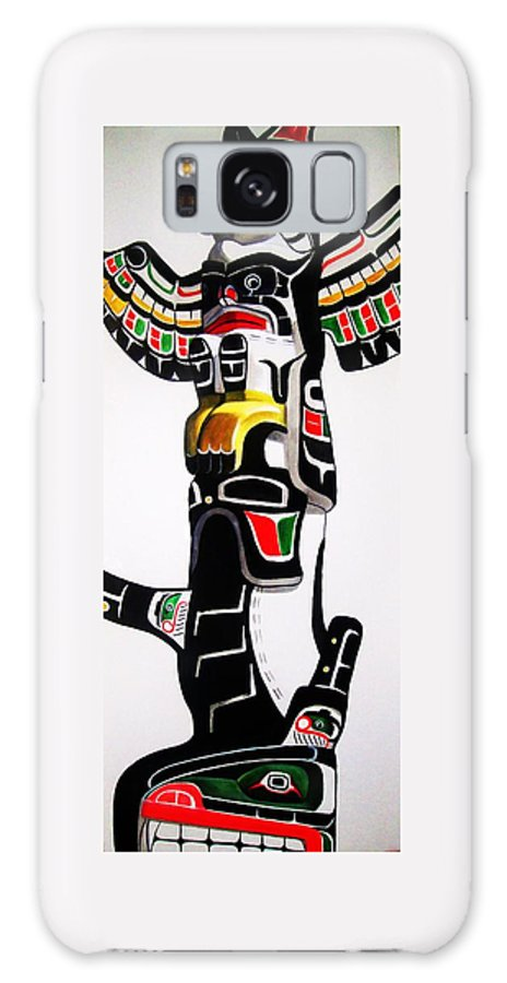 Totem Galaxy S8 Case featuring the painting Thunderbird And Whale Totem by Lucy Deane