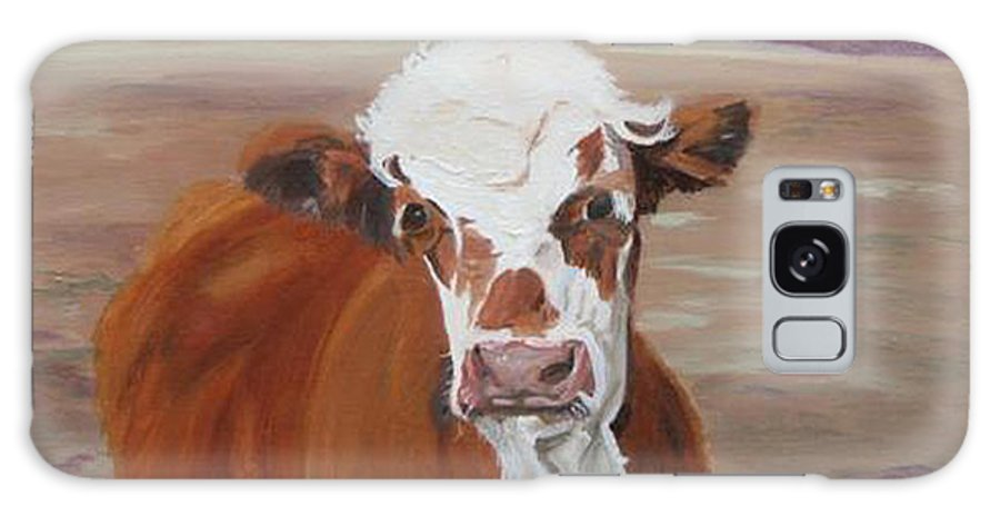 Cow Calf Farmscene Galaxy Case featuring the painting Tiffany by Paula Emery