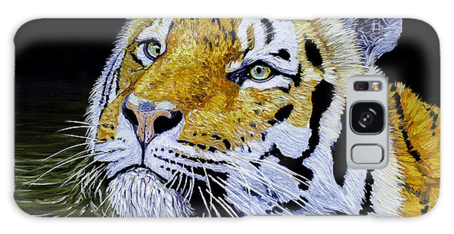 Lion Galaxy S8 Case featuring the painting Tiger 24x18x1 Inch Oil On Gallery Canvas by Manuel Lopez