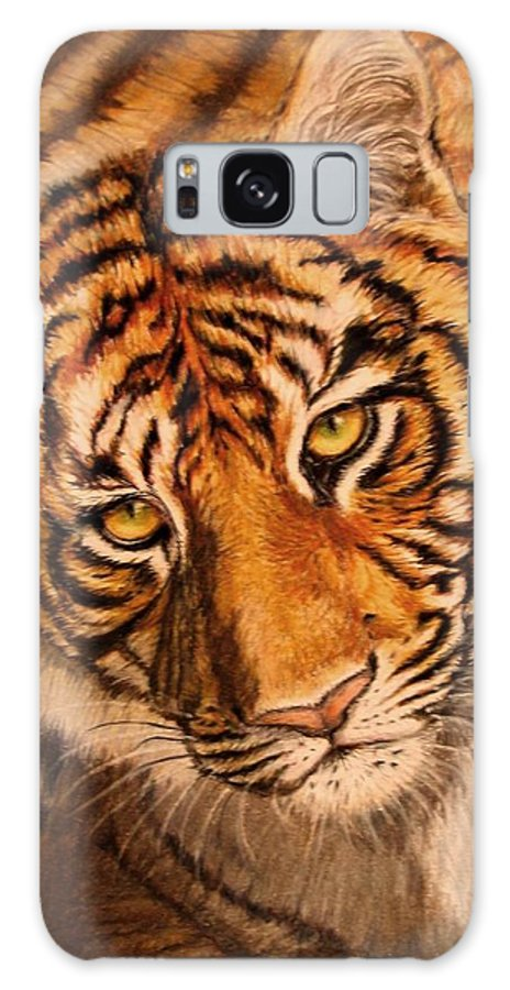 Tiger Galaxy Case featuring the drawing Tiger by Karen Ilari