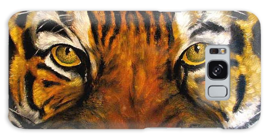 Tiger Galaxy S8 Case featuring the painting Tiger Mask Original Oil Painting by Natalja Picugina