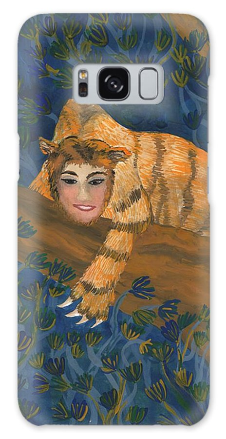 Sphinx Galaxy S8 Case featuring the painting Tiger Sphinx by Sushila Burgess