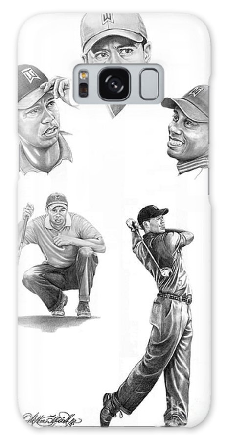 (tiger Woods) Galaxy S8 Case featuring the drawing Tiger Woods- Full Circle by Murphy Elliott
