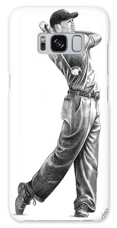 Tiger Woods Galaxy S8 Case featuring the drawing Tiger Woods Full Swing by Murphy Elliott