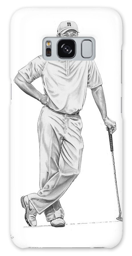 (tiger Woods) Galaxy S8 Case featuring the drawing Tiger Woods-putter-murphy Elliott by Murphy Elliott