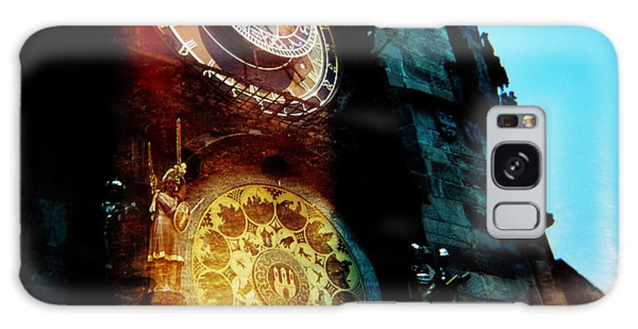 Clock Time Holga Color Photograph Praha Galaxy Case featuring the photograph Time Is Burning by Olivier De Rycke