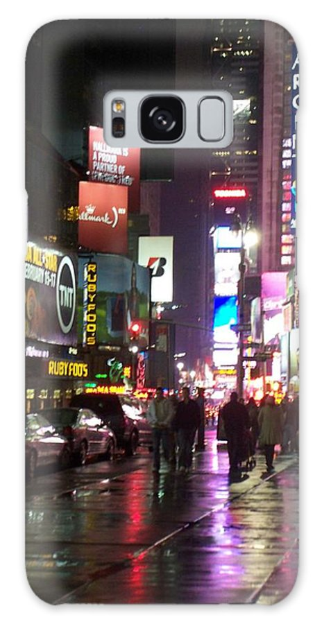 Times Square Galaxy S8 Case featuring the photograph Times Square In The Rain 1 by Anita Burgermeister