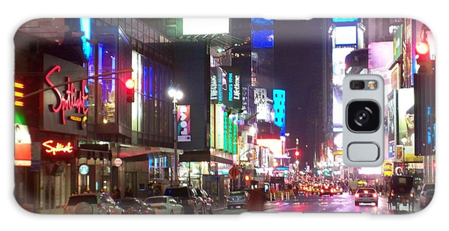Times Square Galaxy Case featuring the photograph Times Square In The Rain 2 by Anita Burgermeister